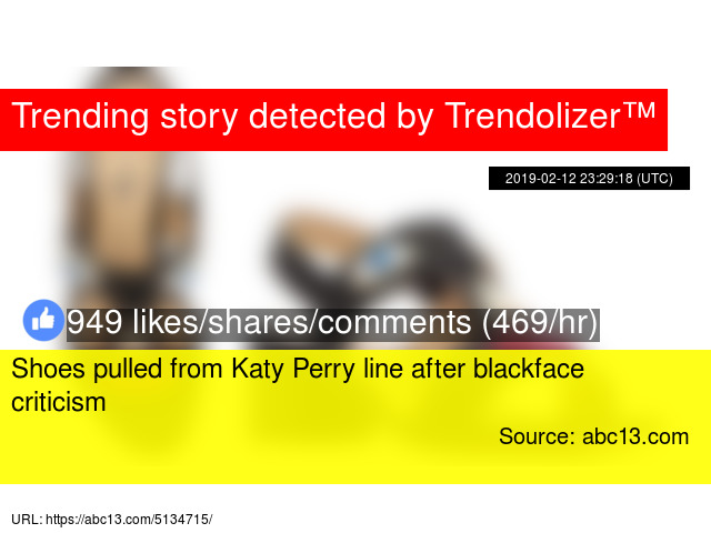 f8182873cfc Shoes pulled from Katy Perry line after blackface criticism - Stats